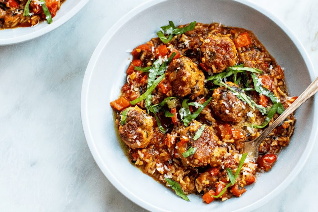 Basil-Parmesan Turkey Meatballs with Stewed Tomatoes and Rice_Hero