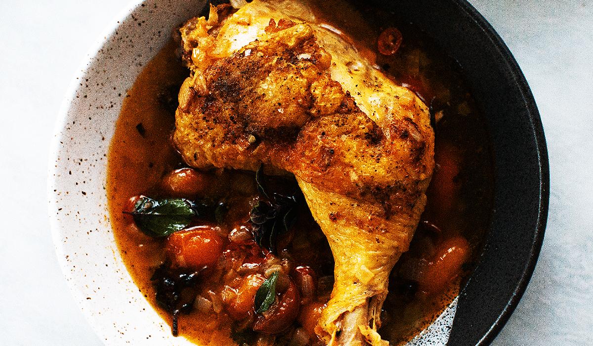 Roast Chicken Legs in Tomato-Basil Broth_Hero_hero