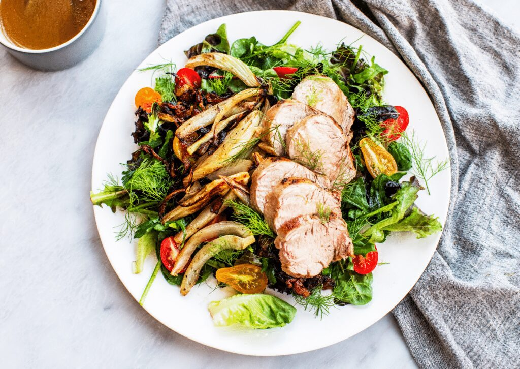 Roast Pork Salad with Caramelized Onions and Charred Fennel_Hero