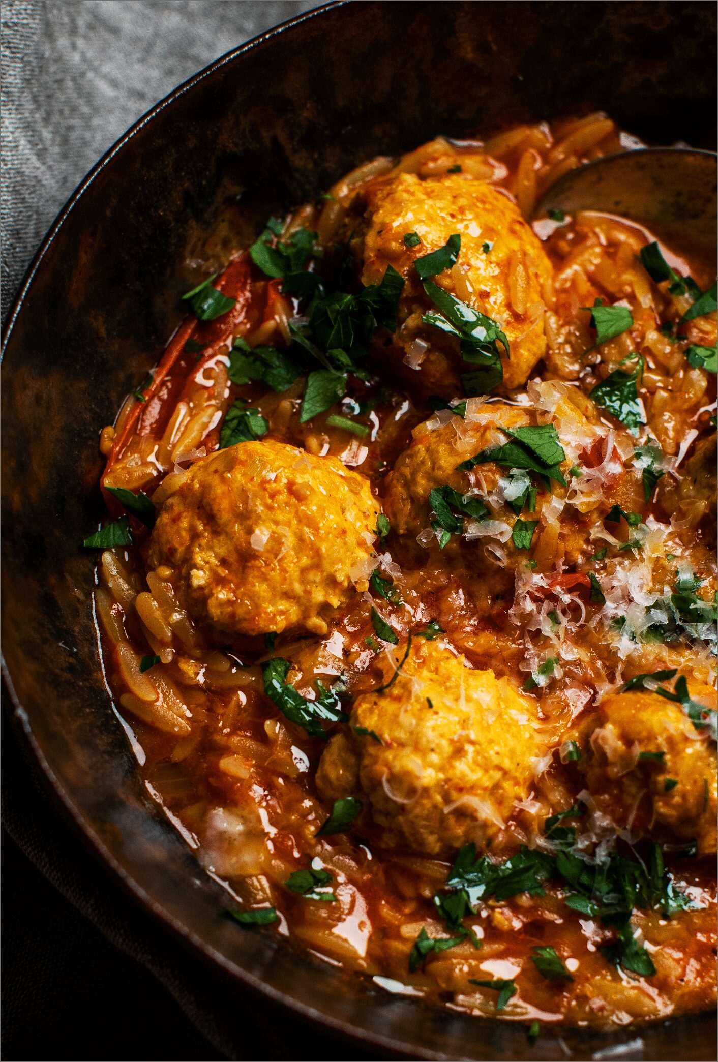 Hazelnut Chicken Meatballs with Orzo_MidPage