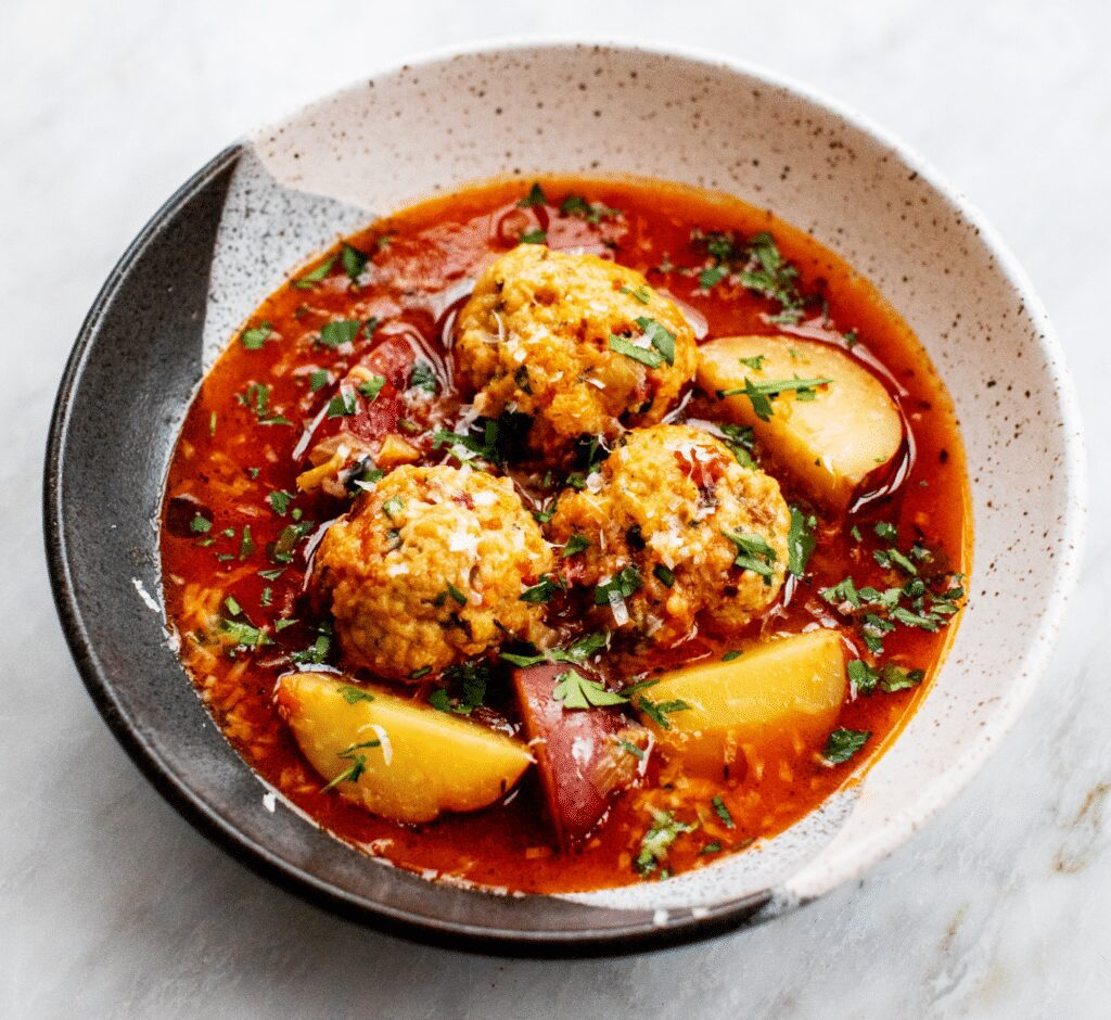 Tomato-Leek Soup with Chicken Meatballs