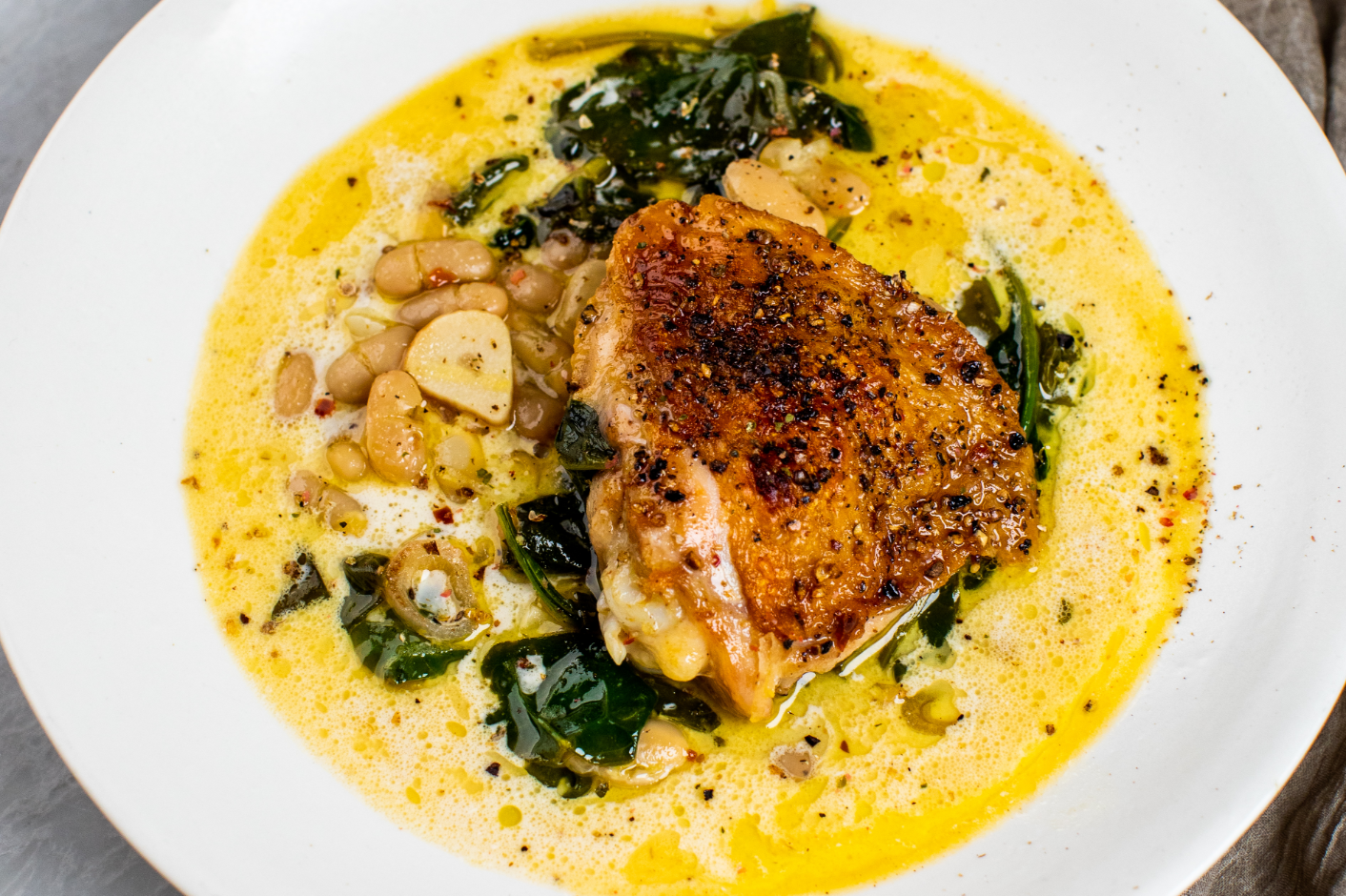 Chicken with Creamy Beans and Greens_Hero