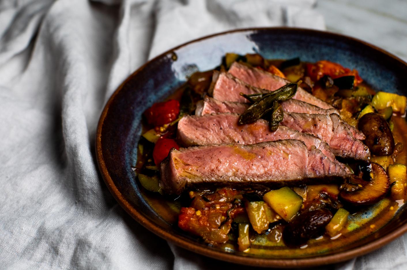 Seared Steak with Mushrooms and Tomatoes_Hero