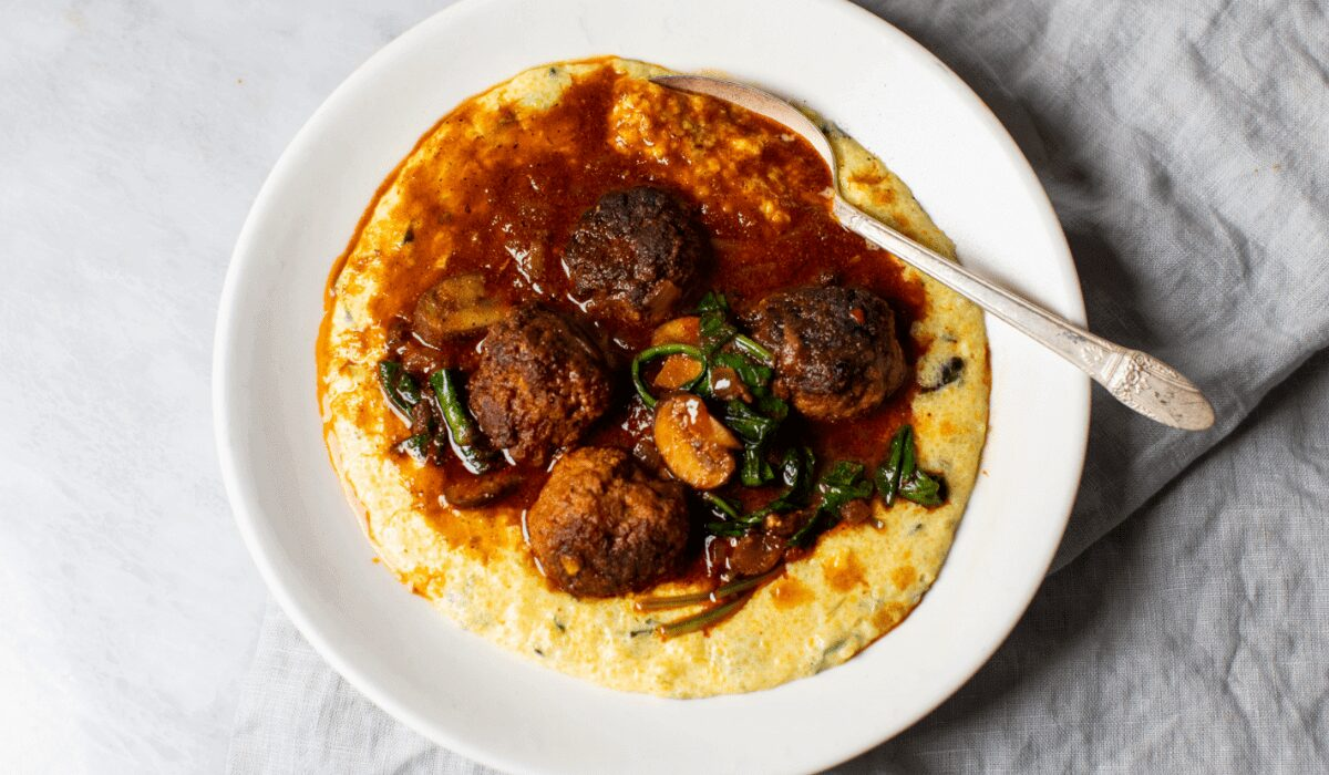 Spiced Lamb Meatballs with Cheddar Grits_Hero