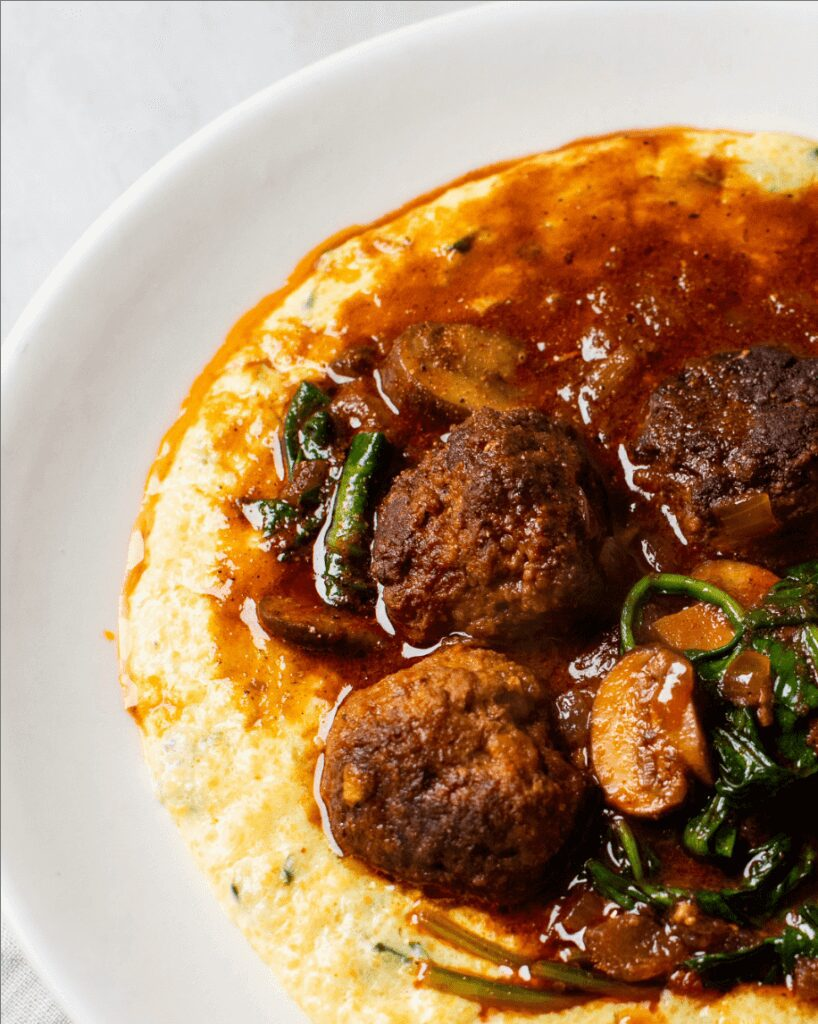 Spiced Lamb Meatballs with Cheddar Grits_MidPage