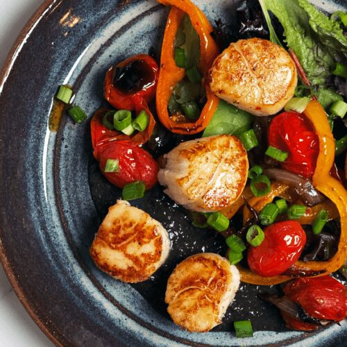 Scallops and Charred Vegetables with Huitlacoche_MidPage