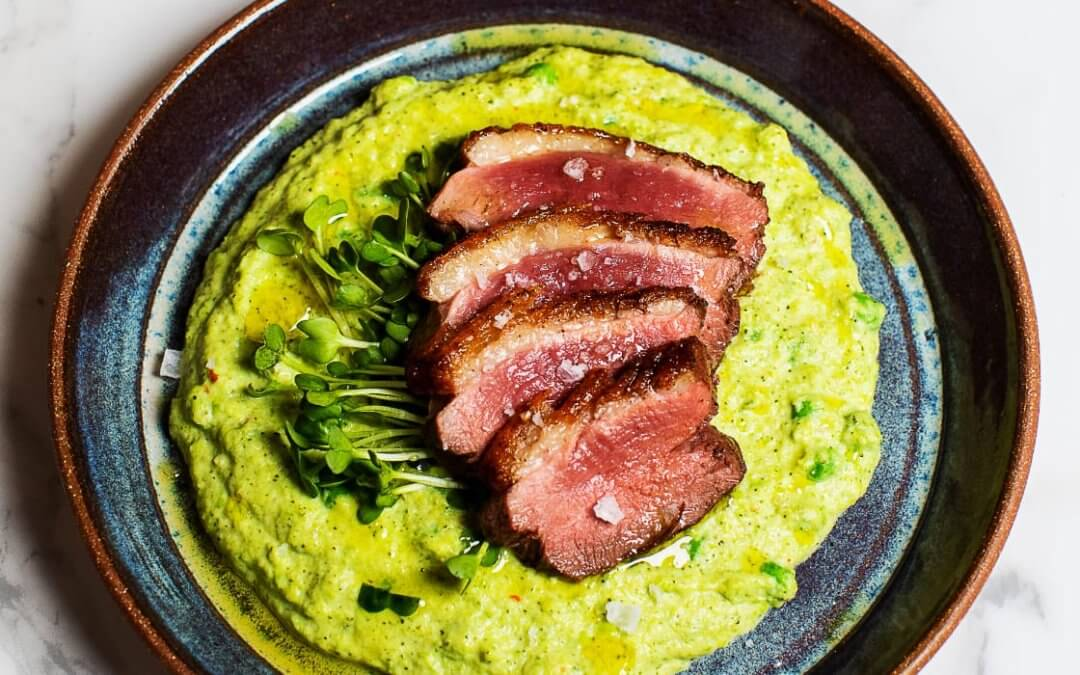 Seared Duck with Broccoli-Pea Purée