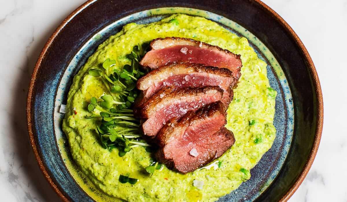 Seared Duck with Broccoli-Pea Purée_Hero