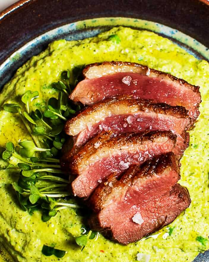 Seared Duck with Broccoli-Pea Purée_MidPage