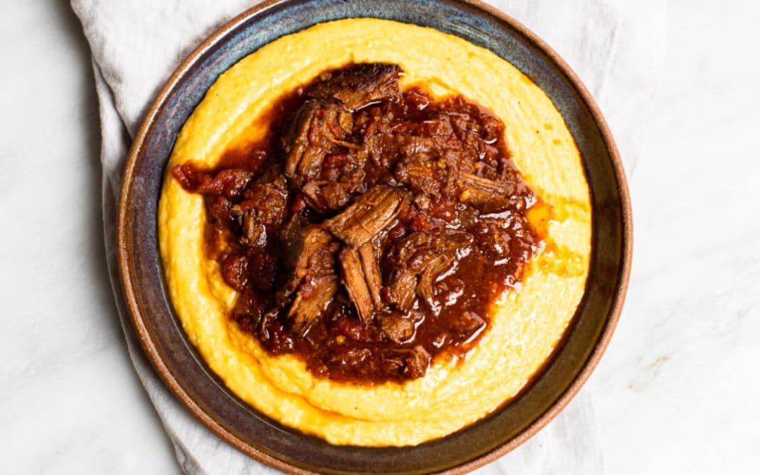 Shredded Beef with Cheesy Grits