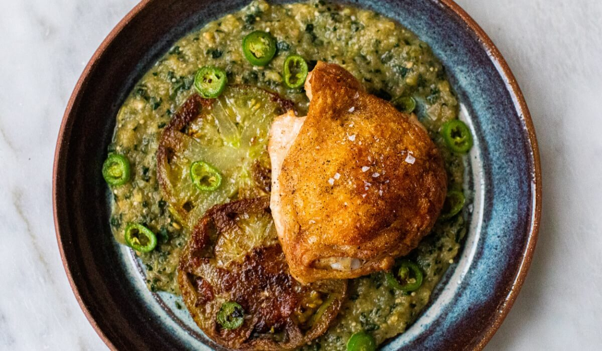 Chicken with Charred Green Tomatoes_Hero