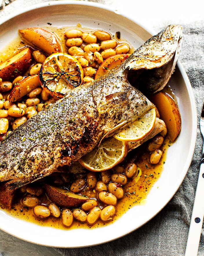 Roasted Branzino with Brothy Beans_MidPage