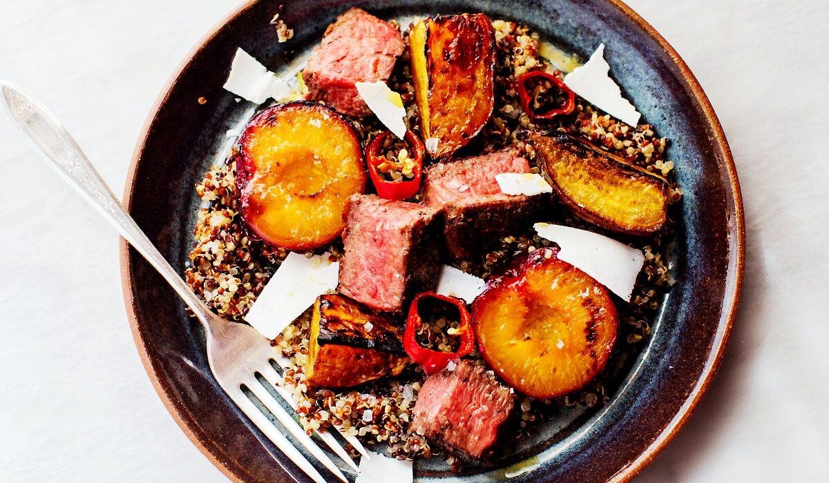 Steak-Quinoa Salad with Charred Plums_Hero