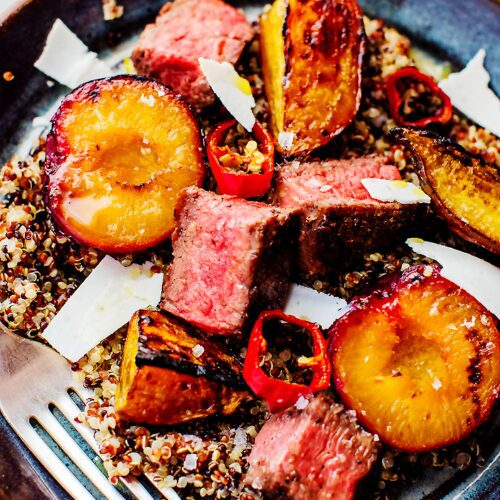 Steak-Quinoa Salad with Charred Plums_MidPage