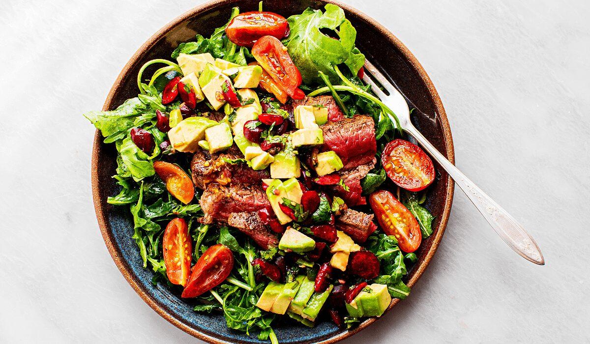 Steak Salad with Avocado-Cherry Salsa_Hero