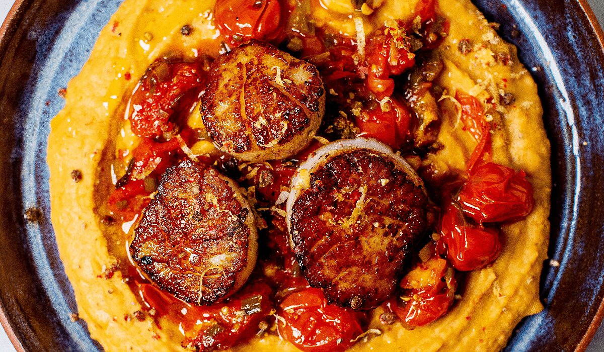 Seared Scallops with Whipped Beans_Hero