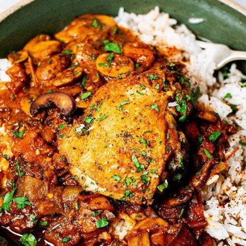 Crispy Chicken with Stewed Mushrooms_MidPage
