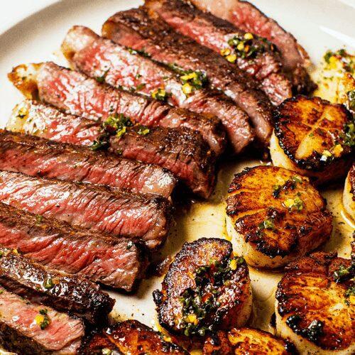 Seared Steak and Scallops