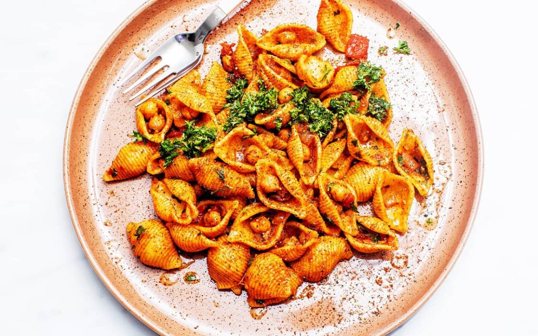 Pasta and Chickpeas with Harissa