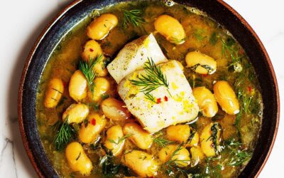 Poached Fish with Great Northern Beans