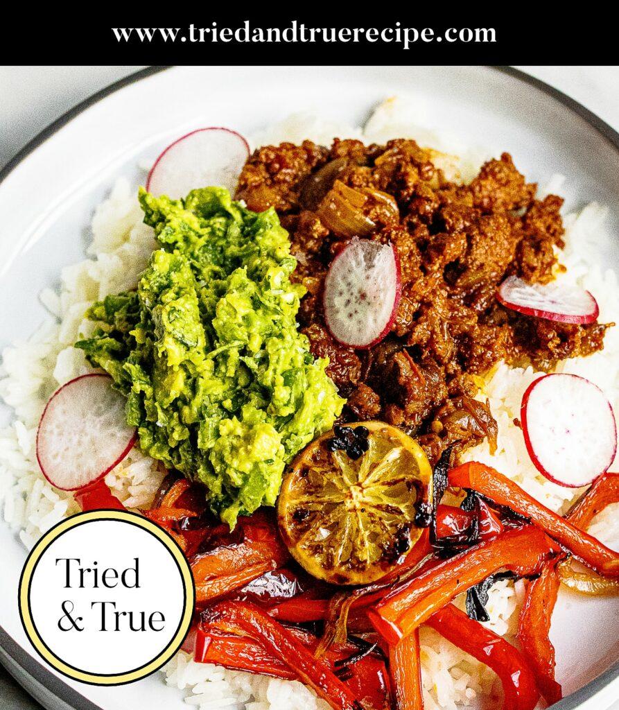 Chorizo Burrito Bowl with Charred Lime_Pinterest