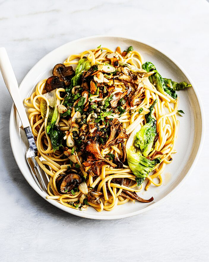 Wild Mushroom Pasta with Almonds and Capers_MidPage – 1