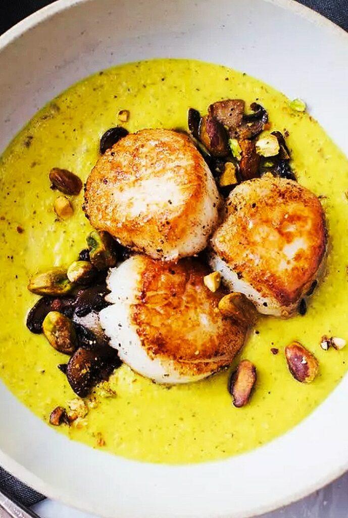 Seared Scallops Recipe, Scallops and Mushrooms, Golden Puree Recipe