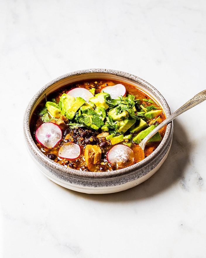 spicy chicken quinoa soup recipe, soup with quinoa recipe