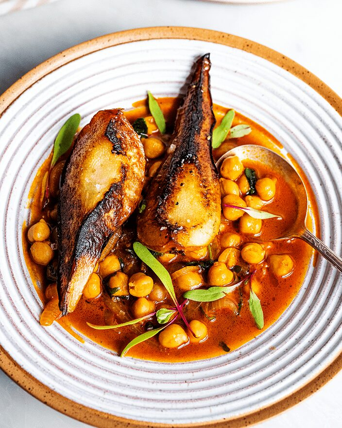 Charred Pears with Harissa Chickpeas_MidPage – 1