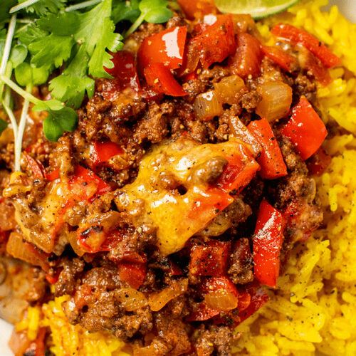 Cheesy Beef Skillet with Yellow Rice_Hero