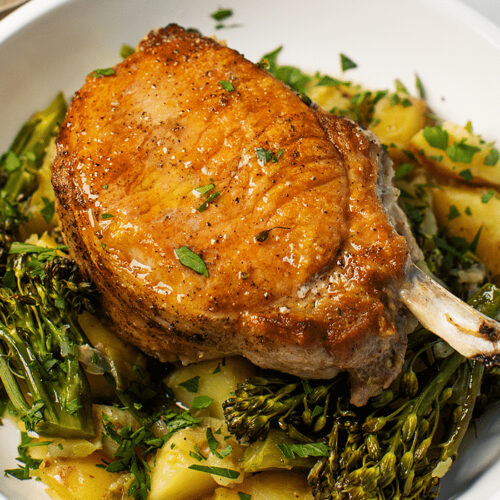 Pork Chops with Spicy Potatoes and Broccolini_Hero