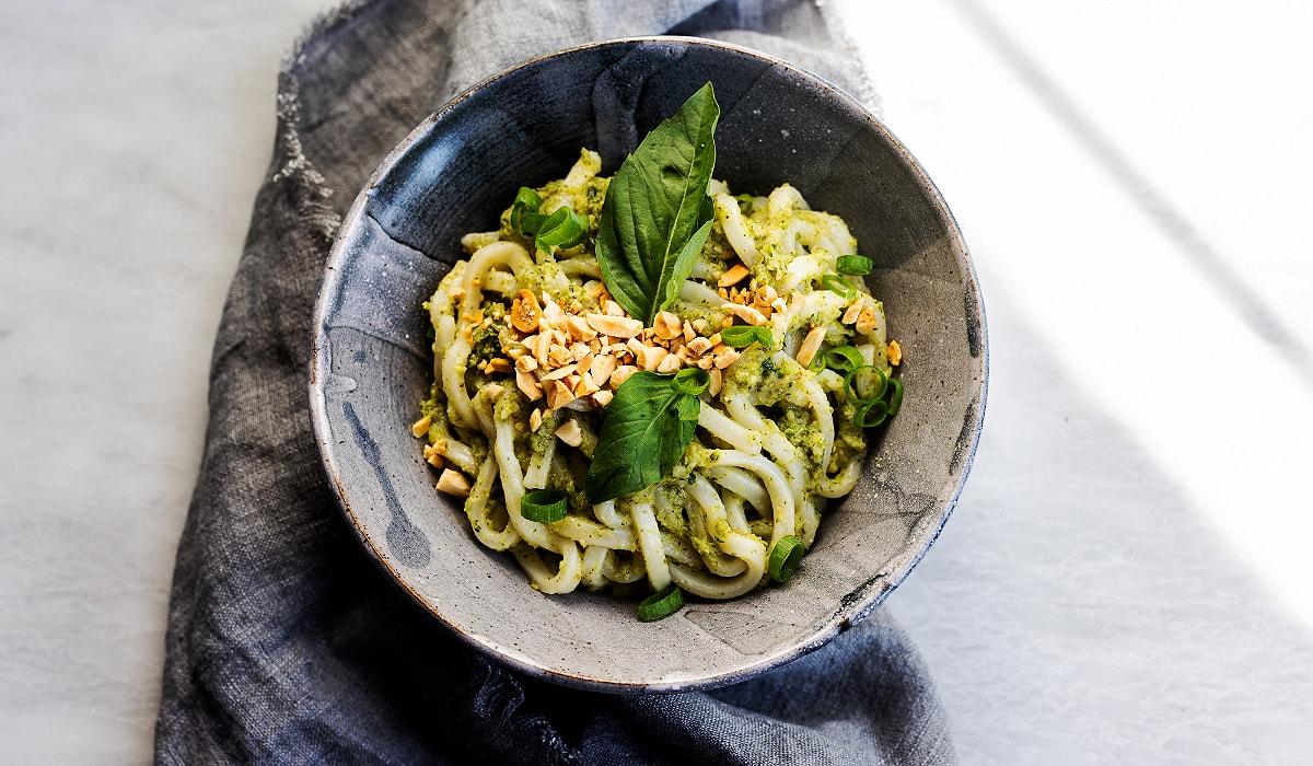 Udon with Sesame Broccoli Sauce