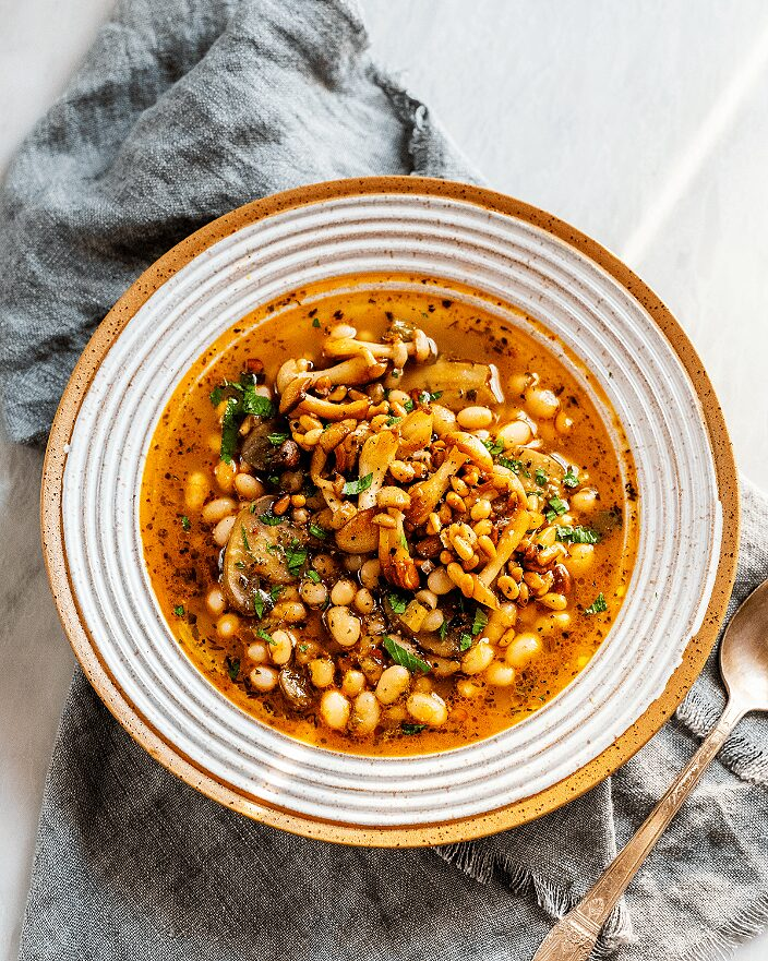 easy vegetarian dinner recipe_Stewed Mushrooms and Beans_MidPage – 1